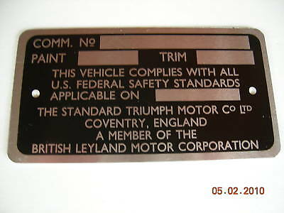 Triumph Tr6 Commission Number Plate 1969 1970