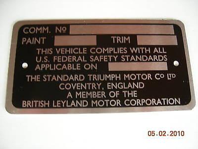 Triumph Tr6 Commission Number Plate 1969 1970