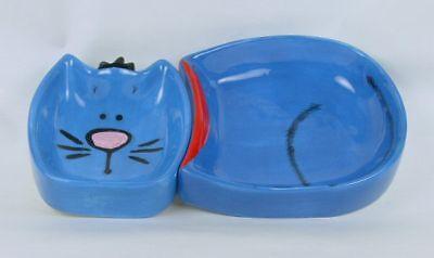 Blue Tuxedo Kitty Adorable Cat 2 Piece Ceramic Pet Dish Bowl Wet/dry Food