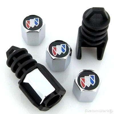 Buick Black Logo Anti Theft Tire Stem Valve Caps - New!