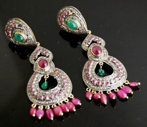 BEAUTIFUL-18KT-EMERALD-RUBY-DIAMOND-VICTORIAN-EARRINGS