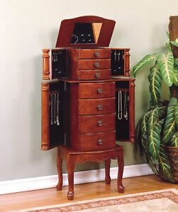 Powell-Classic-Cherry-Jewelry-Armoire-Storage-Cabinet-Chest-Furniture-881-315