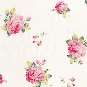 COTTON-CLOTHES-FABRIC-VINTAGE-SHABBY-ROSE-FLORAL-PINK