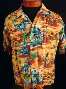 VINTAGE-1970S-SILKY-RAYON-NETWORK-HAWAIIAN-PRINT-SHIRT
