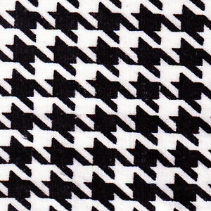 COTTON-100-CLOTHES-DRESSMAKING-FABRIC-RETRO-BIG-HOUNDSTOOTH-CHECK-BLACK-44-034-WIDE