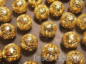 30pc-8mm-Quality-Gold-Plated-Iron-Metal-Filigree-Spacer-Beads-M009