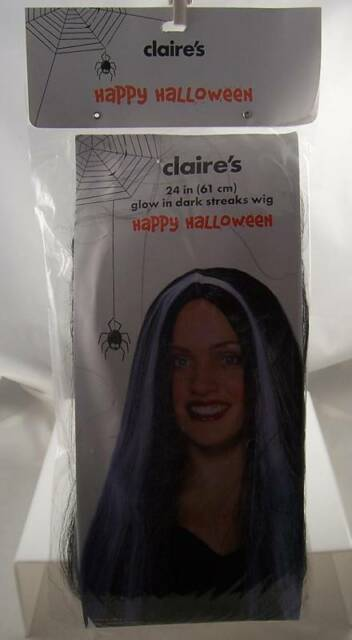 Glow in the dark streaks wig black  24 in  Halloween gothic costume accessory