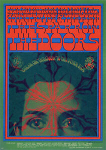 "VINTAGE MINT 1967 THE DOORS ""BREAK ON THROUGH"" FAMILY DOG CONCERT POSTCARD FD50"