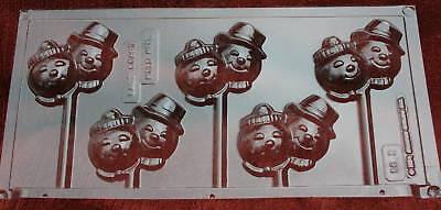 Snowmen Heads Lollipop Christmas Chocolate Candy Mold Molds Ec