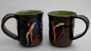 Mug X 2 Signed Christine Halliday Art Pottery Canada