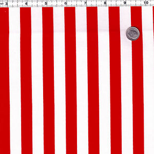 COTTON-CLOTHES-UPHOLSTERY-FABRIC-12-15MM-PAPILLON-STRIPE-RED-BLUE-ON-WHITE-44-034-W