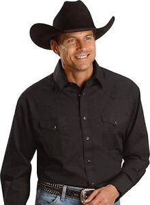 WRANGLER-Mens-WESTERN-Shirt-2XL-Pearl-Snaps-Long-Sleeve-Black-NWTs
