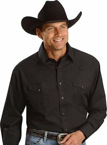 WRANGLER-Mens-WESTERN-Yokes-Shirt-XL-Pearl-Snaps-Solid-Black-NWTs