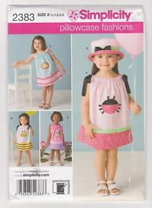 Simplicity Sewing Pattern 2383 Toddler's Pillowcase Dresses Sz 6mth-4