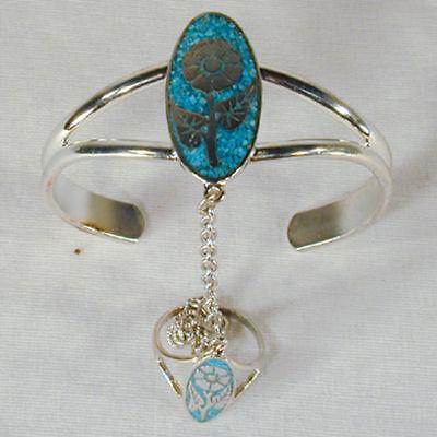 Flower Slave Bracelet 16 Chain Ring Jewelry Women Silver Set Girls