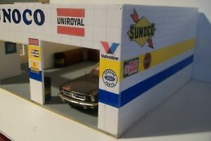 CUSTOM MADE 2 BAY SUNOCO GAS STATION FOR 1:18 SCALE DIECAST BY CBCUSTOMTOYS