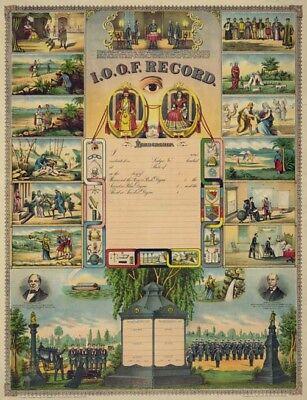RARE HUGE Odd Fellows Record Print Art Poster ring IOOF certificate