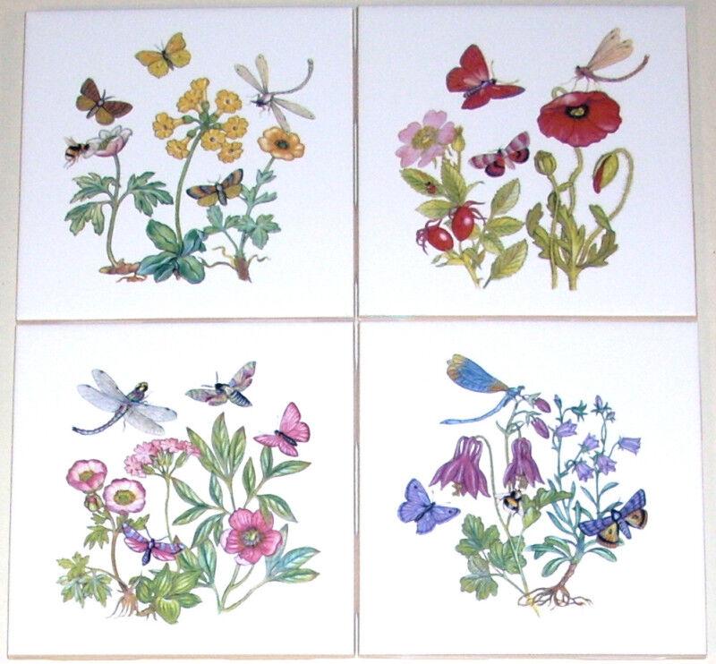 Butterfly Ceramic Tiles Dragonfly Bees Flower Kiln Fired Back Splash Decor