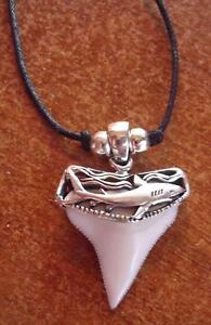 Brite White 3 Shark Tooth Teeth Pendant SILVER Necklace