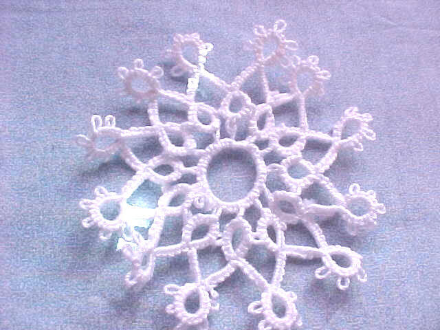 Tatted Snowflake 12 Pt. White  Christmas Lace Shuttle Tatting By Dove Country