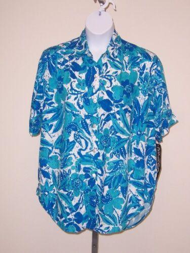 Paradiso Batik Floral Tunic / Big Shirt 2x Casual Short Sleeve Rayon