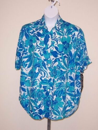 Paradiso Batik Floral Tunic / Big Shirt 2x Casual Short Sleeve Rayon