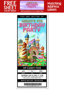 6 CANDYLAND Birthday Party TICKET Style INVITATIONS
