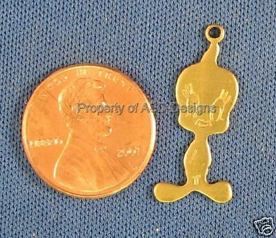 25pc Raw Brass Tweety Bird Looney Tunes Charms 5910
