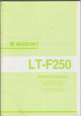 2002 Suzuki Atv 4 Wheeler Lt-f250 Owners Manual