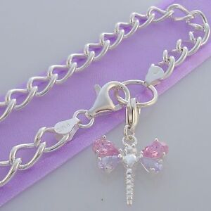 STERLING 925 6mm CURB DRAGONFLY CHARM CARRIER BRACELET