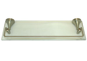 brushed nickel bathroom bath accessories 18 x 6 glass. Black Bedroom Furniture Sets. Home Design Ideas