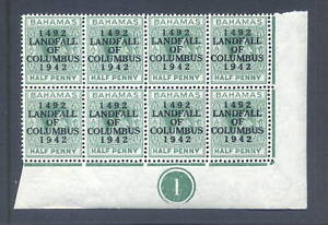 BAHAMAS-1942-LANDFALL-COLUMBUS-Dot-in-O-CYL-BLOCK-of-8