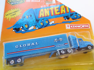 Vintage 1988 Kenworth Global Moving Diecast Ho Scale Truck Road Champs Blue