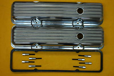 Sbc Chevy Polished Aluminum Valve Covers Short Finned And Gaskets And Mini Studs