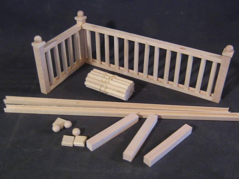 Railing Kit 2 Stairs Dollhouse Balcony Guard 12 1/12 Scale Miniature Mw12082