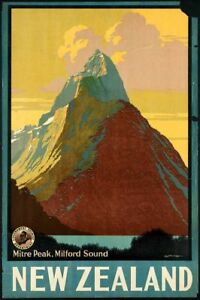 Vintage Milford Sound New Zealand Poster A3 Reprint