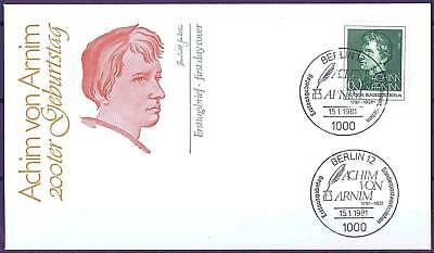 Berlin 1981: Achim von Arnim 200. Geburtstag! FDC der Nr. 637! 1704