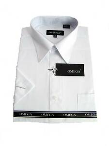 NEW-MENS-WHITE-SHORT-SLEEVE-DRESS-SHIRT-ALL-SIZES