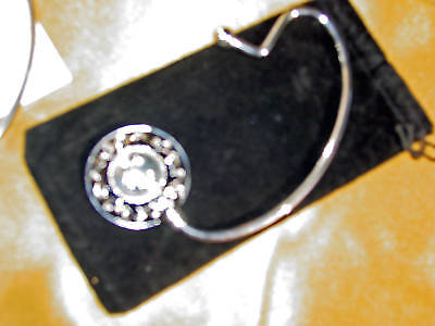 Purse Holder With Initials Metallic Silver Colored Embossed/carry Pouch-new