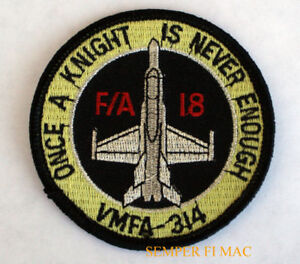 VMFA-314-BLACK-KNIGHTS-HAT-PATCH-ONCE-A-KNIGHT-IS-NOT-ENOUGH-F-18-US-MARINES-WOW