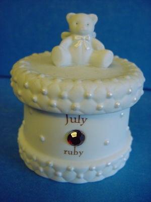 Teddy Bear Trinket Box July Birthstone Ruby