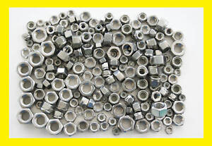 Stainless-Steel-UNC-Imperial-Full-Nuts-Lock-Nuts-Mixed-200-Pk