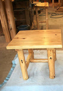 Furniture Log End Table Solid Pine Rustic Cabin Ebay