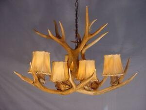 antler mule deer chandelier 6 lights sp6 rustic lighting cabin lamps