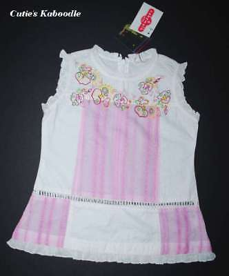 Cakewalk White Pink Embroidered Beaded Ruffles Cotton Tunic Top 3t 98