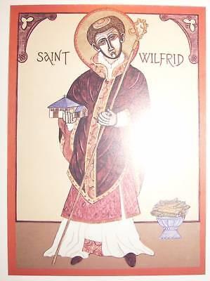 SAINT WILFRID BISHOP IKON  /POSTCARD  COUNCIL OF WHITBY CHURCH ORTHODOX VESTMENT