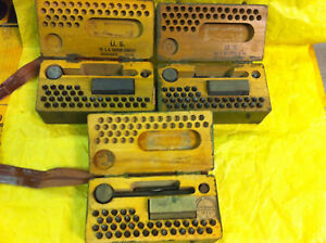 WWII-1942-MILITARY-STEEL-STAMP-SET-37-PC-ORIGINAL-WOOD-BOX-RARE-GOOD-CONDITION