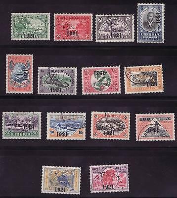 Liberia # 195-208 Complete Set 1921 Ovpt Fauna