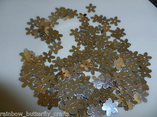 Flower Sequins 10mm 5 Petals 6 grams Metallic Silver