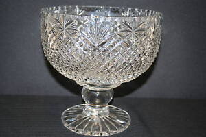 LARGE HOBNAIL CUT LEAD CRYSTAL BOWL ON PEDESTAL BASE